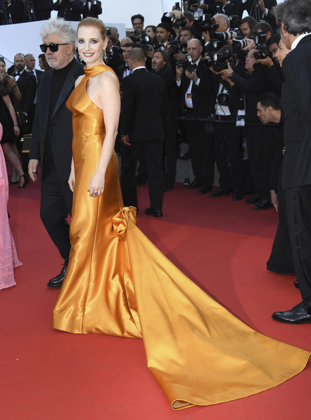 <p>Jury member Jessica Chastain arrives at the 70th Anniversary of the film festival on May 23, 2017. (Photo: Arthur Mola/Invision/AP) </p>