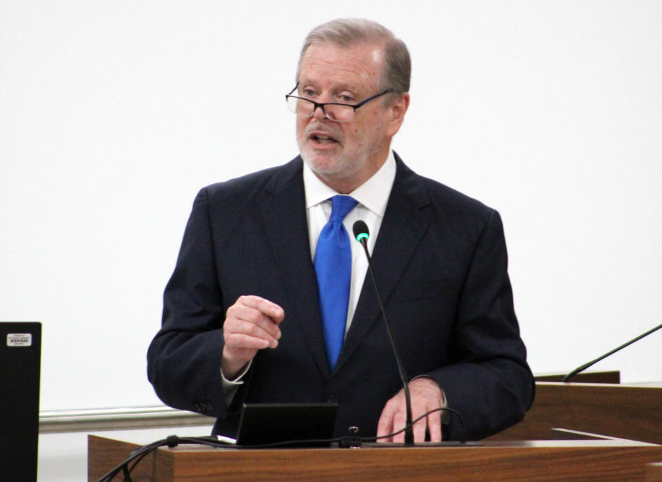 North Carolina Republican Senate leader Phil Berger speaks at a Senate Education Committee hearing on Wednesday, July 14, 2021, in the Legislative Office Building in Raleigh, N.C. North Carolina Republicans are moving forward with a plan to limit how teachers can discuss certain racial concepts inside the classroom, according to the state's most powerful senator. Berger said his chamber will advance the measure seeking to ban the promotion of critical race theory in K-12 public school classrooms. (AP Photo/Bryan Anderson)