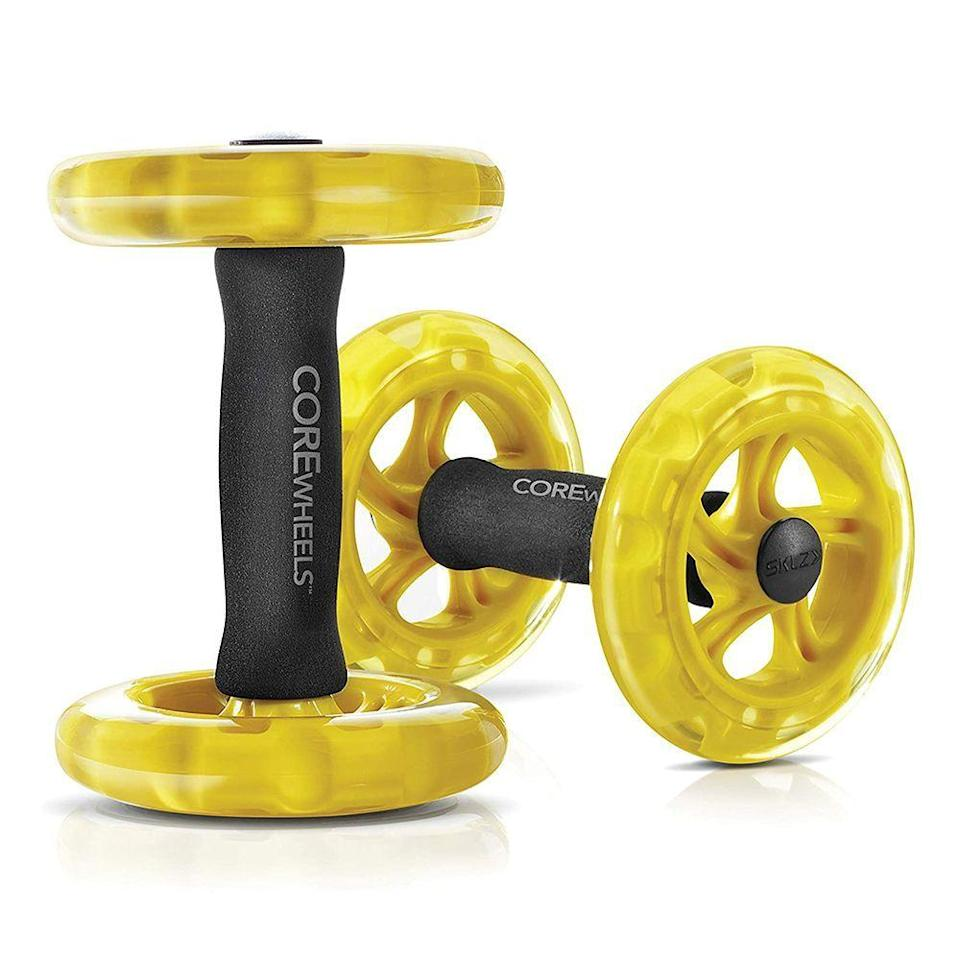"""<p><strong>SKLZ</strong></p><p>amazon.com</p><p><strong>$33.87</strong></p><p><a href=""""https://www.amazon.com/dp/B00C81JUS2?tag=syn-yahoo-20&ascsubtag=%5Bartid%7C2089.g.36494726%5Bsrc%7Cyahoo-us"""" rel=""""nofollow noopener"""" target=""""_blank"""" data-ylk=""""slk:Shop Now"""" class=""""link rapid-noclick-resp"""">Shop Now</a></p><p>Nope, these aren't the same as an ab roller. Instead, this set of wheels helps you take traditional planks and push-ups to the next level. Holding onto one in each hand while in a plank position, you can roll one or both out to the front or side of your body. That moving base destabilizes your muscles from the get-go, forcing them to work harder to stay balanced and engage your shoulder, core, and hip muscles from new angles as you move.</p>"""