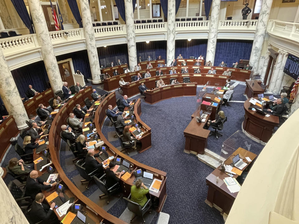 Lawmakers in the House of Representative debate a bill on Wednesday, March 17, 2021, in the Statehouse in Boise, Idaho. Lawmakers approved a massive income tax cut backers say provides much-needed relief but that opponents say is a giveaway to the rich that will result in long-lasting harm. (AP Photo/Keith Ridler)