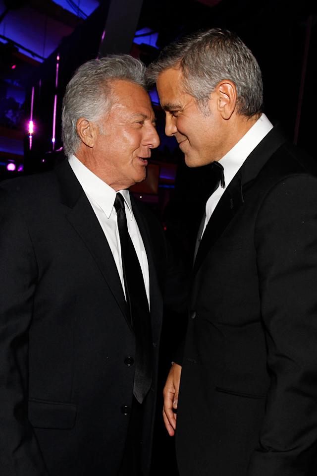 "<a href=""http://movies.yahoo.com/movie/contributor/1800014129"">Dustin Hoffman</a> and <a href=""http://movies.yahoo.com/movie/contributor/1800019715"">George Clooney</a> at the 17th Annual Critics' Choice Awards reception in Hollywood on January 12, 2012."