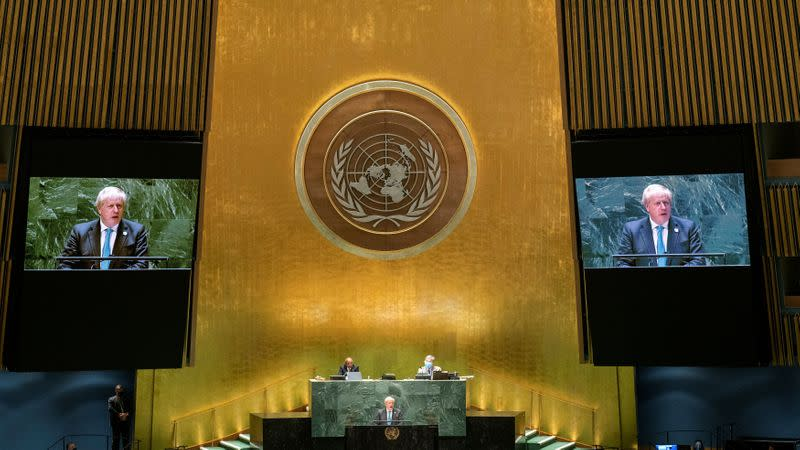 British Prime Minister Boris Johnson addresses the 76th Session of the U.N. General Assembly in New York City