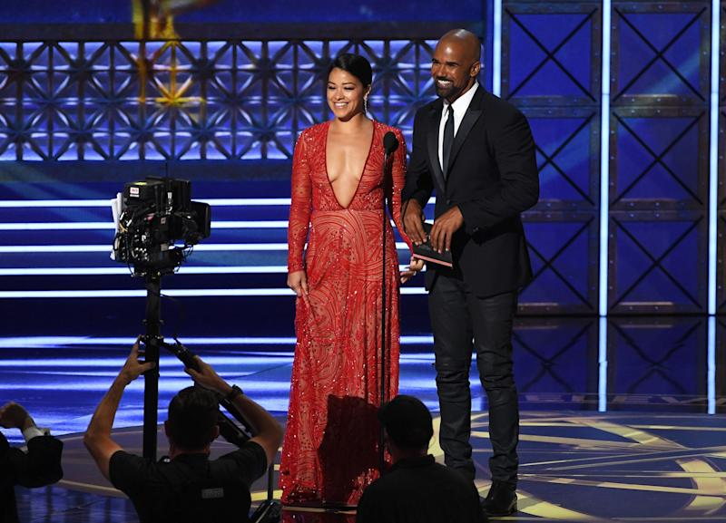 Actors Gina Rodriguez and Shemar Moore speak onstage during the 69th Annual Primetime Emmy Awards at Microsoft Theater on Sept. 17, 2017 in Los Angeles, California.