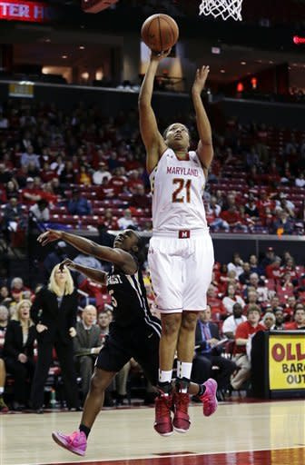 Maryland forward Tianna Hawkins (21) shoots over Wake Forest guard Chelsea Douglas in the second half of an NCAA college basketball game in College Park, Md., Sunday, March 3, 2013. Hawkins contributed a game-high 18 points to Maryland's 88-61 win. (AP Photo/Patrick Semansky)