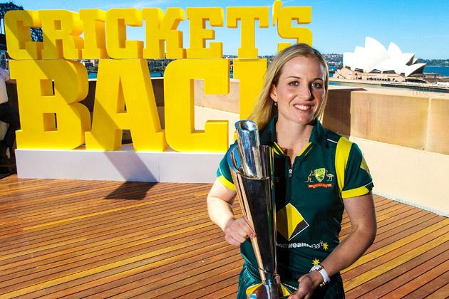 SYDNEY, AUSTRALIA - OCTOBER 15: Australian Women's cricket captain Jodie Fields poses with the World Twenty20 trophy during the Cricket Australia season launch at Museum of Contemporary Art on October 15, 2012 in Sydney, Australia.  (Photo by Mark Nolan/Getty Images)
