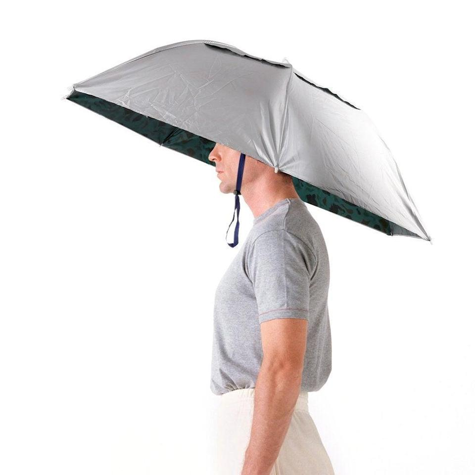 """Get all the benefits of staying dry in the rain (or sun, for the avid gardener) with an umbrella hat that is truly goals.<br><br><strong>Luwint</strong> 36'' Diameter Elastic Fishing Gardening Folding Umbrell, $, available at <a href=""""https://amzn.to/38pE3mr"""" rel=""""nofollow noopener"""" target=""""_blank"""" data-ylk=""""slk:Amazon"""" class=""""link rapid-noclick-resp"""">Amazon</a>"""