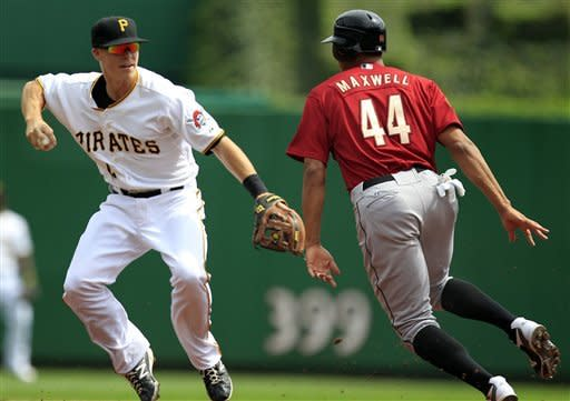Pittsburgh Pirates Pittsburgh Pirates second baseman Brock Holt, left, fields a ground ball in the baseline between first and second as Houston Astros' Justin Maxwell (44) runs around the tag during the first inning of a baseball game in Pittsburgh Monday, Sept. 3, 2012. Maxwell was called safe at second on the play. (AP Photo/Gene J. Puskar)