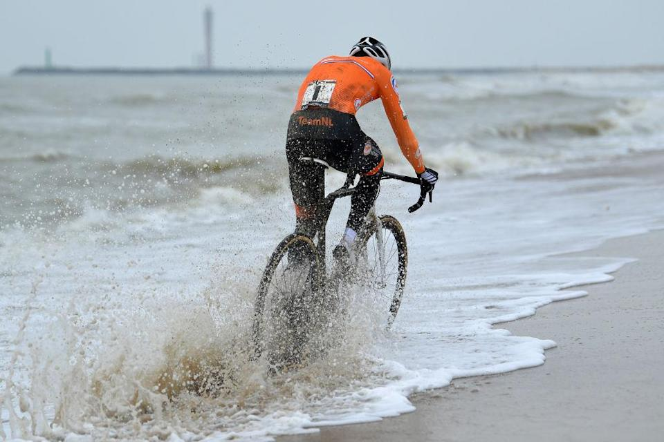 OOSTENDE BELGIUM JANUARY 31 Mathieu Van Der Poel of The Netherlands Sea Sand Beach during the 72nd UCI CycloCross World Championships Oostende 2021 Men Elite UCICX CXWorldCup Ostend2021 CX on January 31 2021 in Oostende Belgium Photo by Luc ClaessenGetty Images