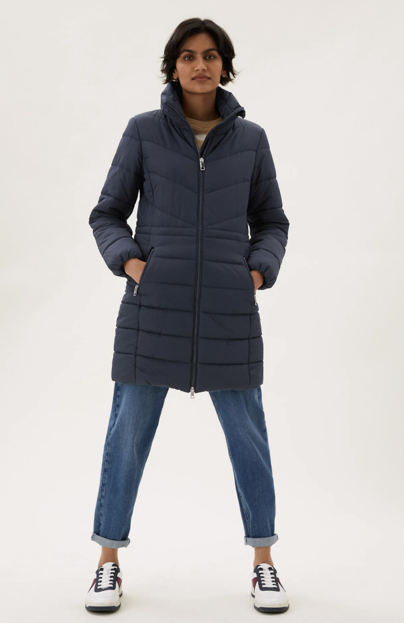 The Thermowarmth Puffer Coat comes in navy blue and camel shades.  (Marks and Spencer)