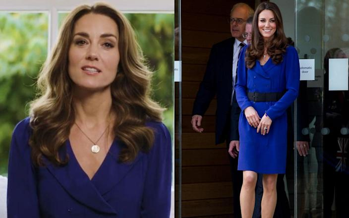 Kate wearing Reiss's 'Trina' dress in 2020 and 2012