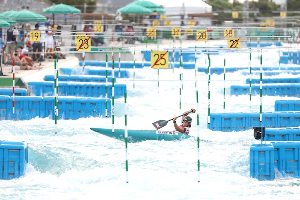 <p>TOKYO, JAPAN - JULY 29: Mallory Franklin of Team Great Britain competes during the Women's Canoe Slalom Final on day six of the Tokyo 2020 Olympic Games at Kasai Canoe Slalom Centre on July 29, 2021 in Tokyo, Japan. (Photo by Harry How/Getty Images)</p>