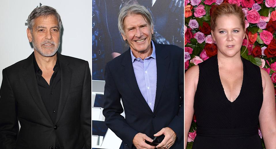 George Clooney, Harrison Ford, and Amy Schumer (Credit:Keith Mayhew/SOPA Images/LightRocket via Getty Images - Jordan Strauss/Invision/AP - Anthony Behar/Sipa USA)
