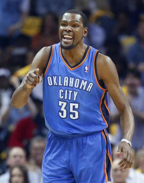 Oklahoma City Thunder forward Kevin Durant yells in the first half of Game 6 of an opening-round NBA basketball playoff series against the Memphis Grizzlies, Thursday, May 1, 2014, in Memphis, Tenn. (AP Photo/Mark Humphrey)