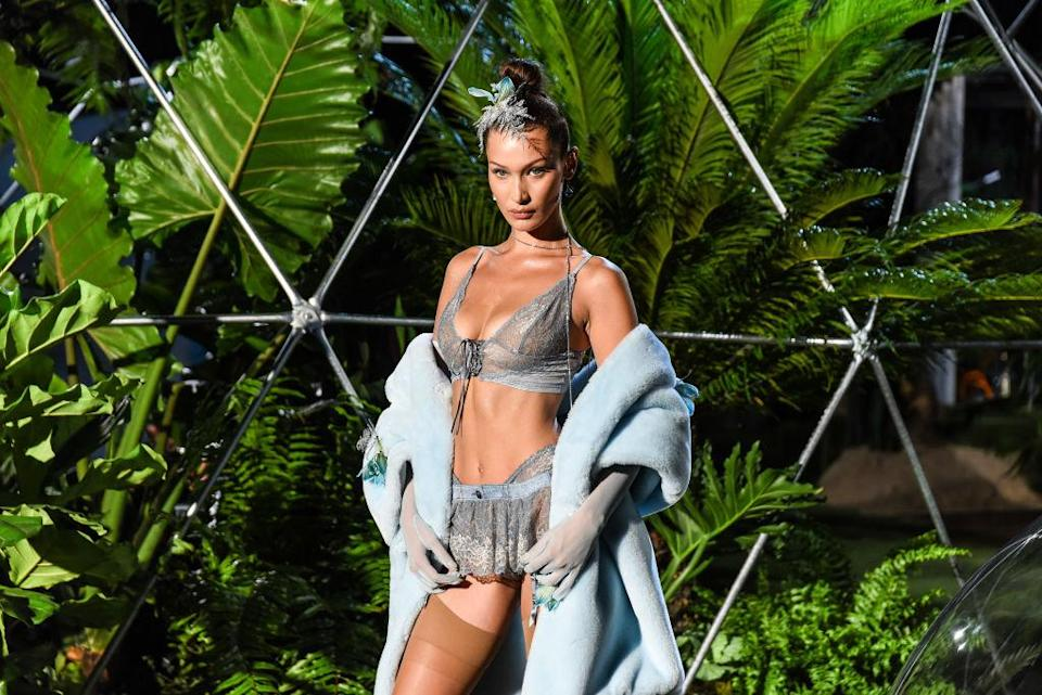 Bella Hadid walks the runway for the Savage X Fenty Fall/Winter 2018 fashion show during NYFW at the Brooklyn Navy Yard on Sept. 12, 2018. (Photo: Getty Images)