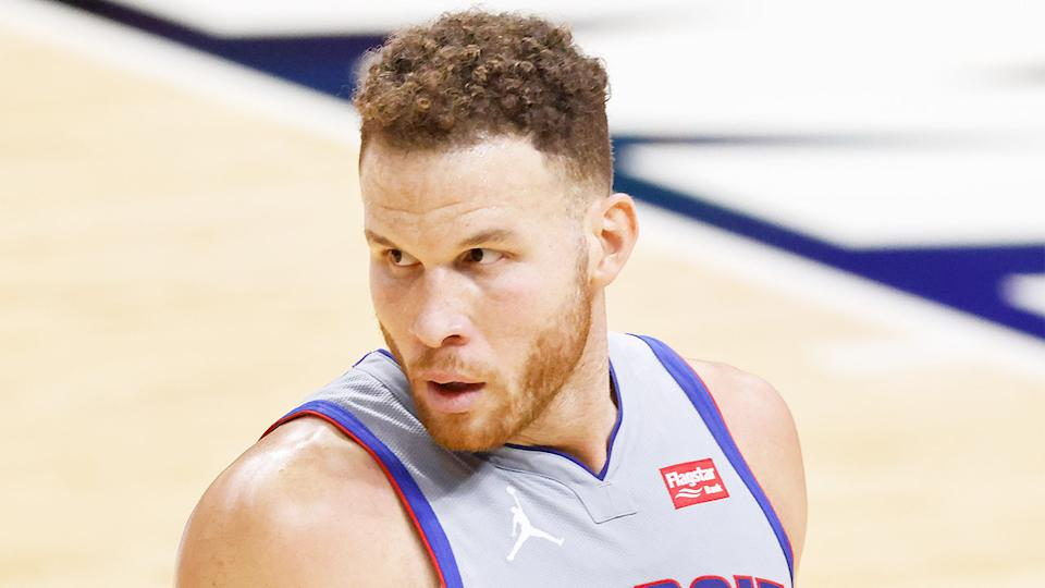 Blake Griffin for the Detroit Pistons looks on during a match.
