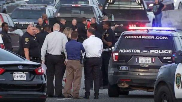 PHOTO: Houston police are searching for two men after a suspect opened fire and killed two occupants of a car on Interstate 10 in Houston on Thursday, Aug. 8, 2019. (KTRK)