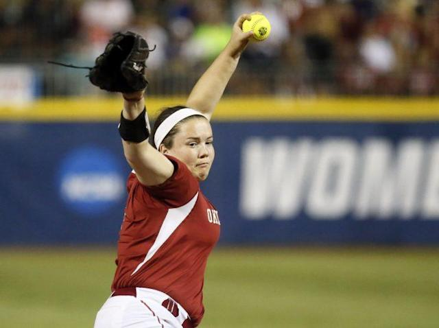 Good luck catching Oklahoma pitcher Paige Parker (AP)