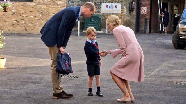 Prince William takes Prince George to school