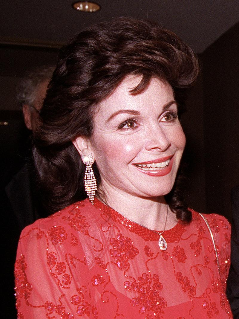 FILE - In this Oct. 20, 1990 file photo, actress and former Mickey Mouse Club member Annette Funicello arrives for the 15th annual Italian American Foundation dinner in Washington, D.C.  (AP Photo/J. Scott Applewhite, file)