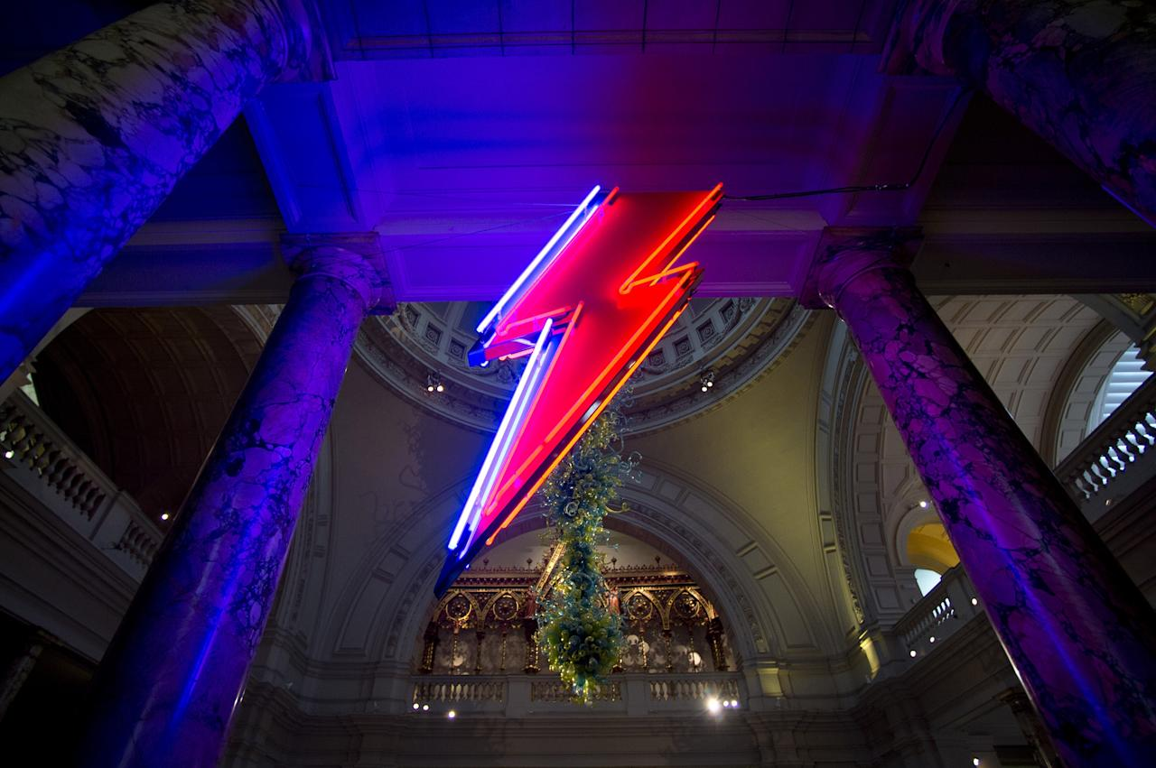LONDON, ENGLAND - MARCH 20:  David Bowies lightning bolt logo is displayed at the 'David Bowie Is' exhibition at the Victoria & Albert Museum on March 20, 2013 in London, England.  (Photo by Ben A. Pruchnie/Getty Images)
