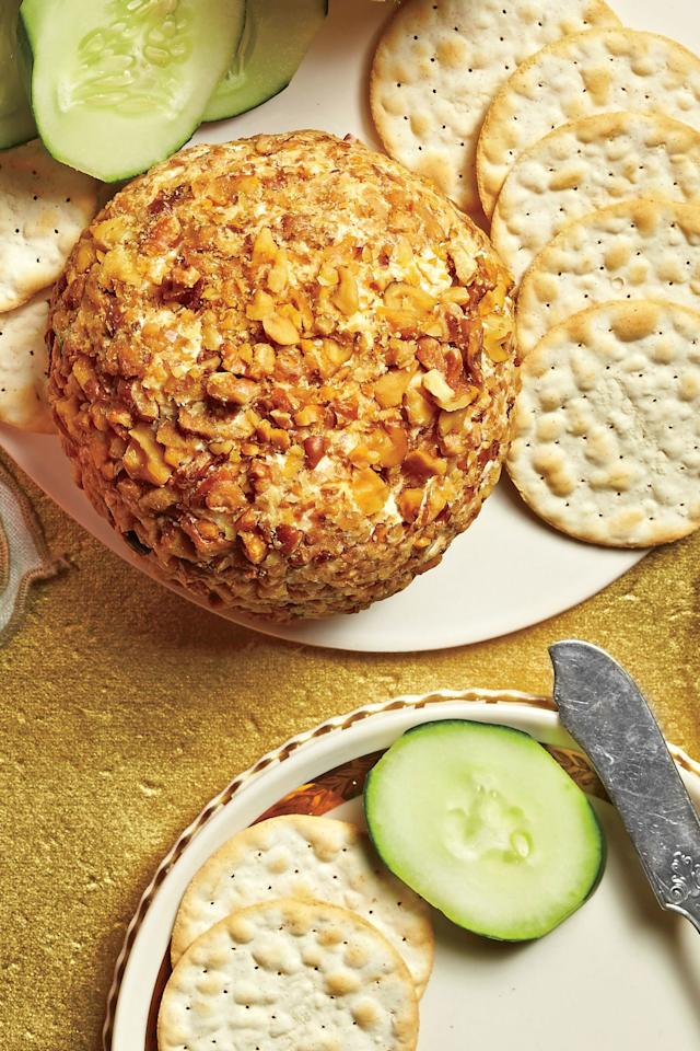"""<p><b>Recipe: <a href=""""https://www.southernliving.com/syndication/cheddar-horseradish-walnut-cheese-ball"""">Cheddar-Horseradish-Walnut Cheese Ball</a></b></p> <p>We'll repeat it until the cows come home: It's not a Southern party <a href=""""https://www.southernliving.com/appetizers/cheese-balls"""">without a cheese ball</a>.</p>"""