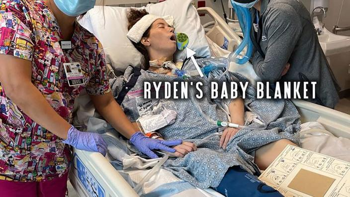 """<div class=""""inline-image__caption""""><p>Acuna with her son Ryden's blanket on her hospital bed.</p></div> <div class=""""inline-image__credit"""">GoFundMe</div>"""