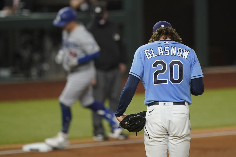 Los Angeles Dodgers' Joc Pederson rounds the bases after a run home off Tampa Bay Rays starting pitcher Tyler Glasnow during the second inning in Game 5 of the baseball World Series Sunday, Oct. 25, 2020, in Arlington, Texas. (AP Photo/Eric Gay)