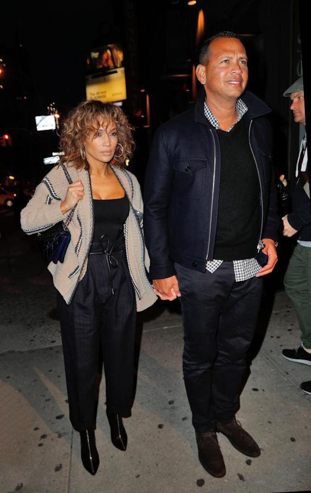 <p>Earlier in the year, the pair was spotted in New York City wearing matching shades of black and navy blue. (Photo: Getty Images) </p>