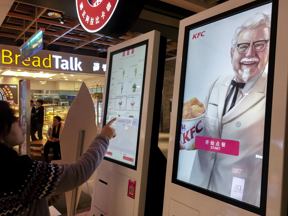 TIANJIN, CHINA - 2018/03/22: Self-service machine in a KFC restaurant, to improve the efficiency of ordering and payment.  KFC has made a significant contribution to the performance of Yum China. In 2017, Yum China opened 691 new restaurants, of which KFC took up 5488, accounting for about 68%. (Photo by Zhang Peng/LightRocket via Getty Images)