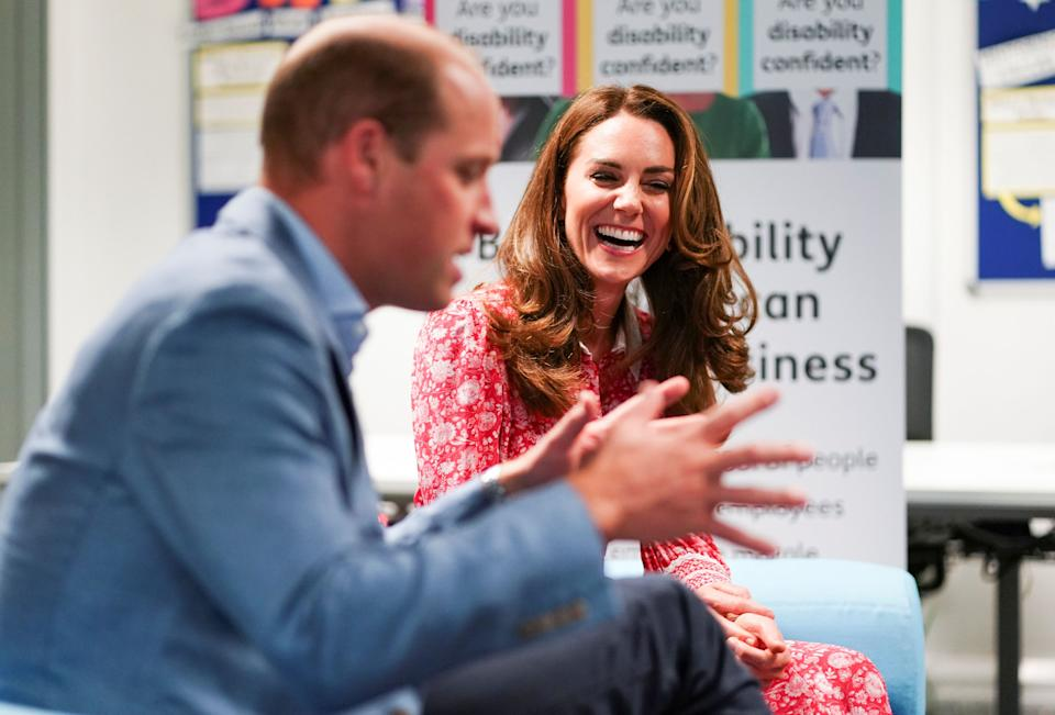 Britain's Prince William, Duke of Cambridge (L), and Britain's Catherine, Duchess of Cambridge (R) speak to employers at the London Bridge Jobcentre, in London on September 15, 2020. - The Duke and Duchess of Cambridge carried out engagements in London today to meet local communities, hear about the challenges they have faced over the last six months, and shine a light on individuals and businesses who have gone above and beyond to help others during this extraordinary time. (Photo by HENRY NICHOLLS / POOL / AFP) (Photo by HENRY NICHOLLS/POOL/AFP via Getty Images)