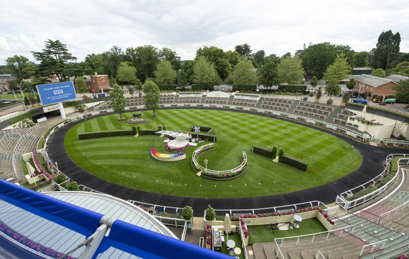 The parade ring at Ascot Racecourse ahead of the first behind closed doors Royal Meeting meeting due to the ongoing Covid-19 pandemic