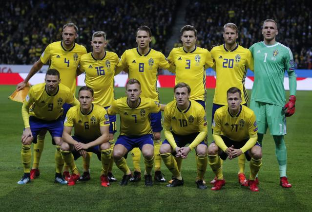FILE - In this Friday, Nov. 10, 2017 filer Sweden team poses prior to the World Cup qualifying play-off first leg soccer match between Sweden and Italy, at the Friends Arena in Stockholm. (AP Photo/Frank Augstein, File)