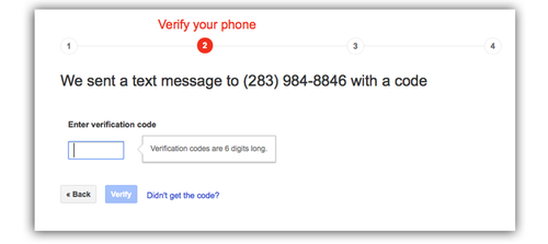 Google Verify Your Phone screen
