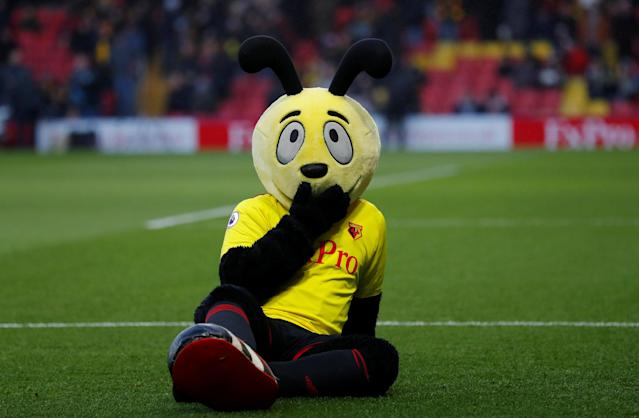 """Soccer Football - Premier League - Watford vs Everton - Vicarage Road, Watford, Britain - February 24, 2018 Watford mascot before the match Action Images via Reuters/Andrew Couldridge EDITORIAL USE ONLY. No use with unauthorized audio, video, data, fixture lists, club/league logos or """"live"""" services. Online in-match use limited to 75 images, no video emulation. No use in betting, games or single club/league/player publications. Please contact your account representative for further details."""
