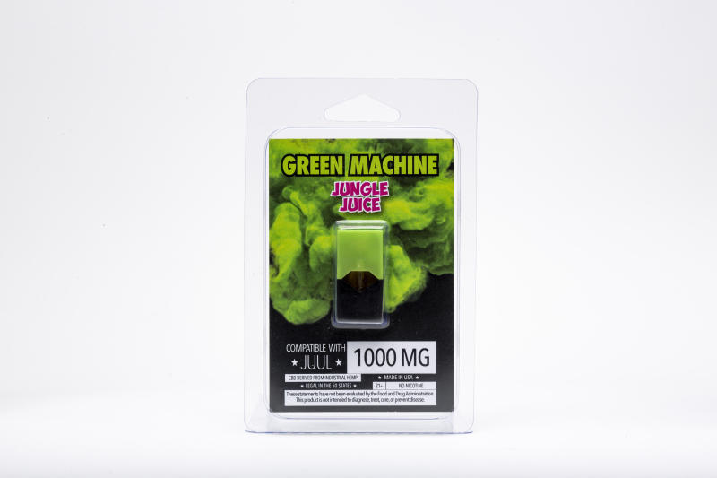 "This Wednesday, July 17, 2019, photo shows a Green Machine ""Jungle Juice"" flavored CBD vape pod and its packaging in Los Angeles. As part of an investigation into vapes that promise to deliver a smokable form of the cannabis extract CBD, The Associated Press commissioned a laboratory to test CBD vapes purchased around the country. That included seven Green Machine pods bought at stores in California, Florida and Maryland; four of the pods contained synthetic marijuana, a dangerous street drug commonly known as K2 or spice. (AP Photo/Damian Dovarganes)"