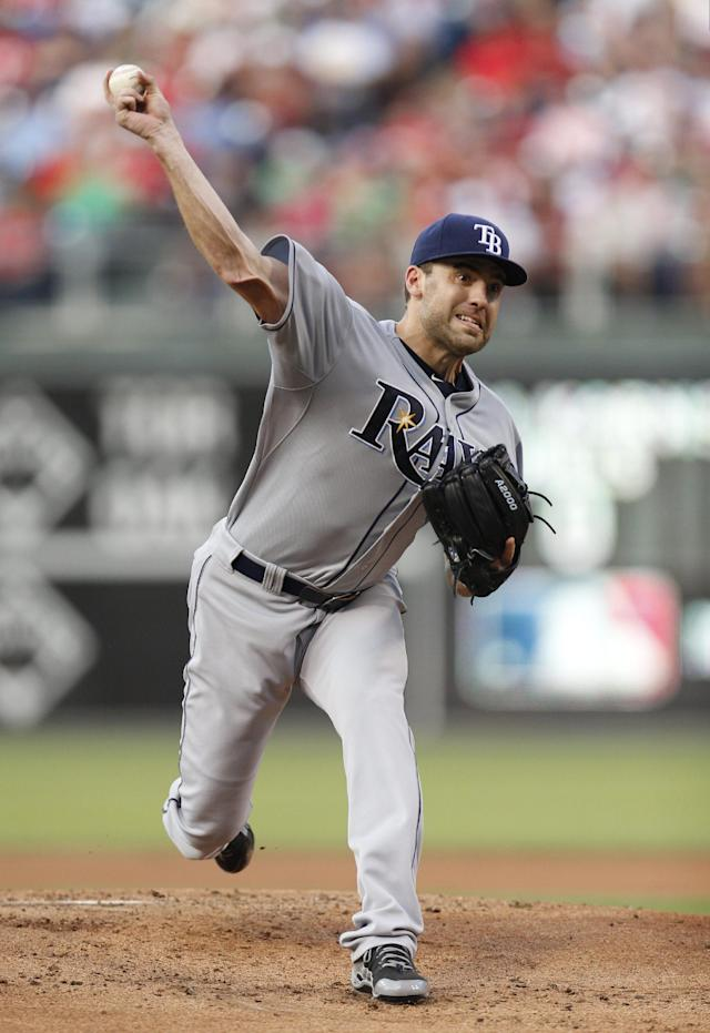 Tampa Bay Rays starting pitcher Nathan Karns throws during the first inning of a baseball game against the Philadelphia Phillies, Tuesday, July 21, 2015, in Philadelphia. (AP Photo/Chris Szagola)
