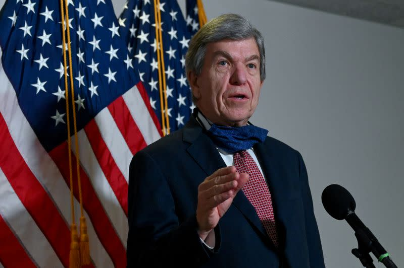 FILE PHOTO: U.S. Senator Roy Blunt speaks to reporters after a luncheon on Capitol Hill in Washington