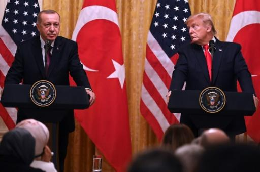 US President Donald Trump and Turkey's President Recep Tayyip Erdogan take part in a joint press conference at the White House in November 2019