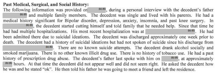 A passage from a medical examiner's report on acase the FDAincludes in its list of kratom-associated deaths.
