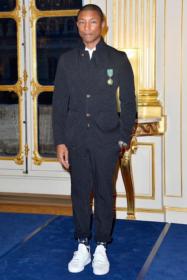 <p>WHERE: Receiving the 'Officier De L'Ordre des Arts Et Des Lettres' medal in Paris, France.</p><p>WHEN: March 6, 2017</p><p>WHY: Because this is how you wear a suit when you're name is Pharrell.</p>