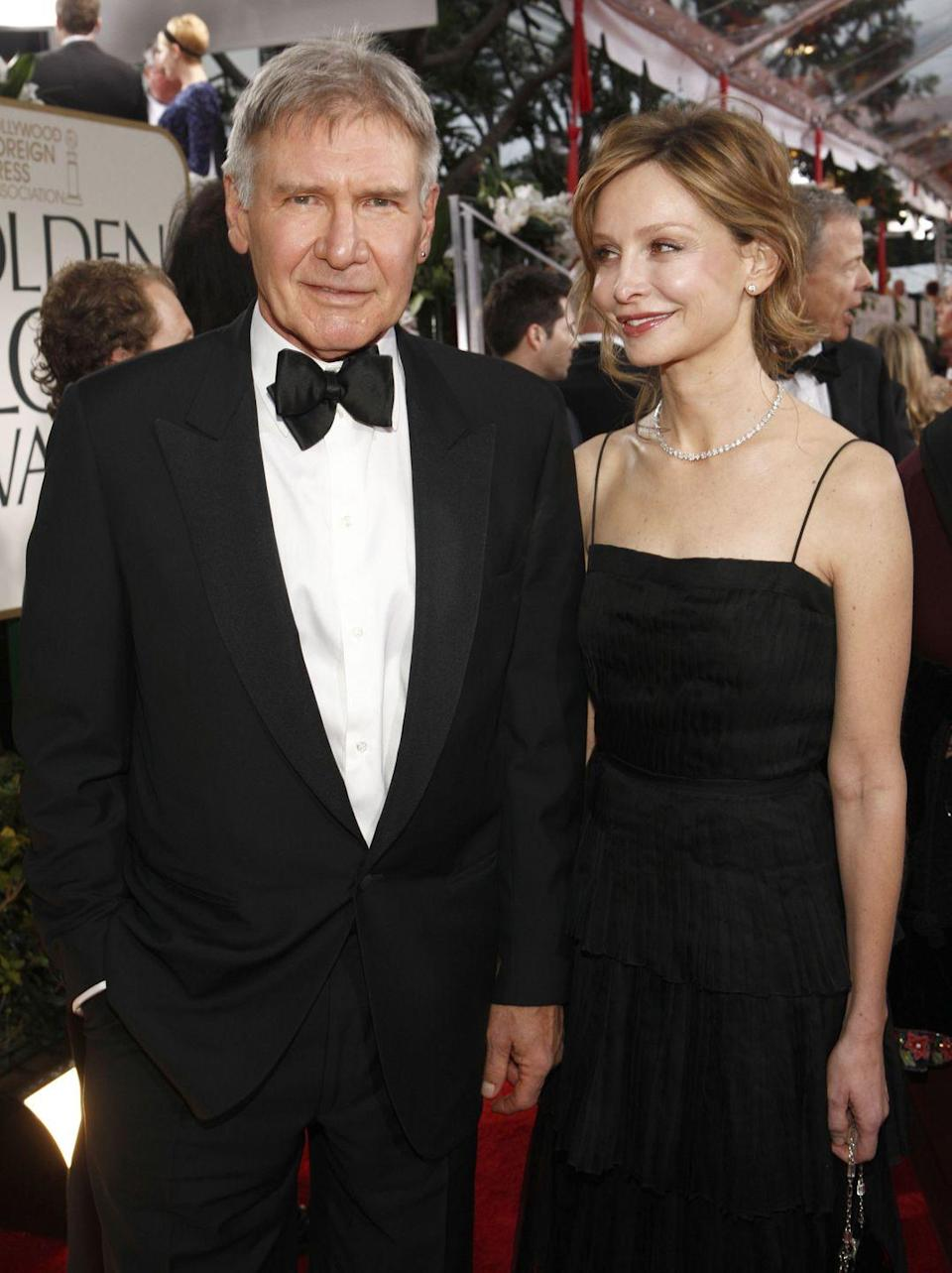 """<p>Leave it to Harrison Ford to surprise even his guests at his wedding ceremony. In 2010, the <em>Indiana Jones</em> star and his longtime girlfriend, Calista Flockhart, pulled off an elaborate elopement that gathered their nearest and dearest without them even knowing it was a wedding. The couple chose the <a href=""""https://www.popsugar.com.au/celebrity/photo-gallery/34589750/image/34589746/Calista-Flockhart-Harrison-Ford"""" rel=""""nofollow noopener"""" target=""""_blank"""" data-ylk=""""slk:New Mexico governor's mansion"""" class=""""link rapid-noclick-resp"""">New Mexico governor's mansion</a> for their venue. </p>"""