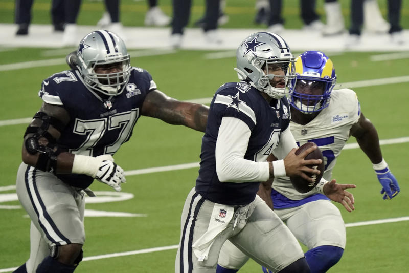 "Ratings were down for ""Sunday Night Football,"" despite a close game between the Cowboys and Rams. (AP Photo/Jae C. Hong)"
