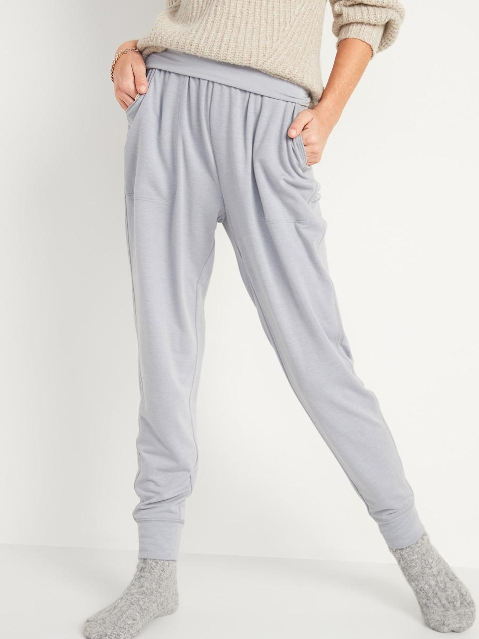 <p>The <span>Mid-Rise UltraLite French Terry Jogger Yoga Pants </span>($30) are loose and comfortable.</p>