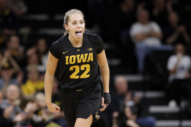 Iowa guard Kathleen Doyle reacts after making a three-point basket during the first half of an NCAA college basketball game against Iowa State, Wednesday, Dec. 5, 2018, in Iowa City, Iowa. (AP Photo/Charlie Neibergall)