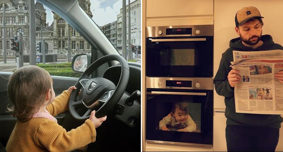 Images from Instagram account 'onadventurewithdad' showing Alix driving and also baking in the oven