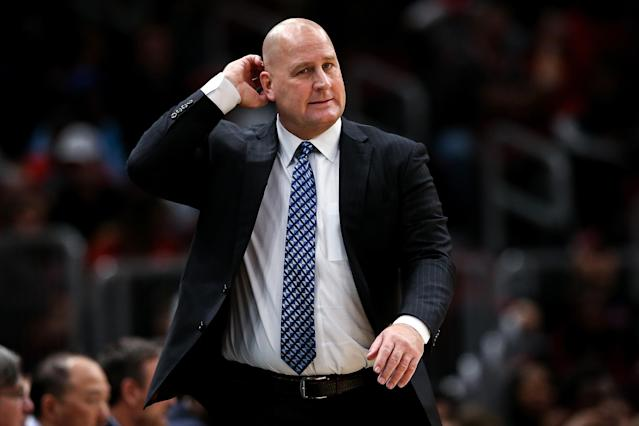 "<a class=""link rapid-noclick-resp"" href=""/nba/teams/chicago/"" data-ylk=""slk:Chicago Bulls"">Chicago Bulls</a> head coach Jim Boylen defended his coaching style in unique fashion. (Photo by Dylan Buell/Getty Images)"