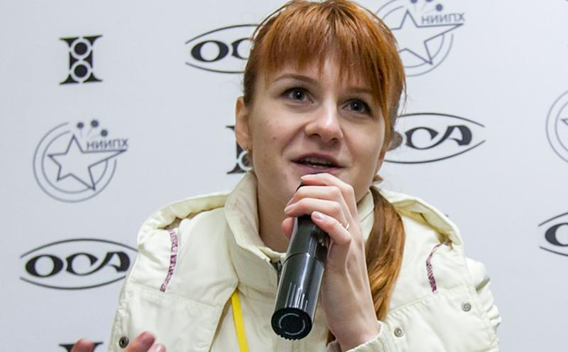 Maria Butina speaks on Oct. 8, 2013, during a press conference in Moscow. U.S. prosecutors accuse her of working covertly for the Kremlin.