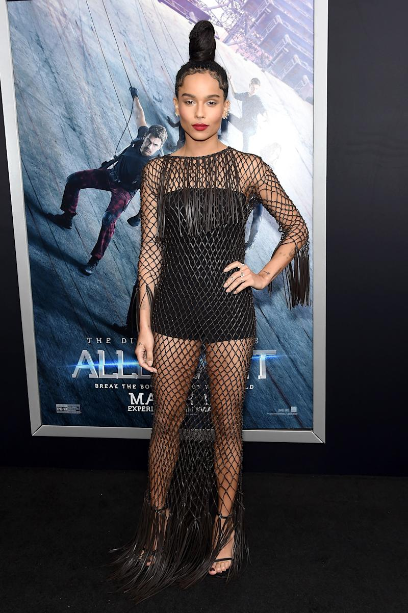 Kravitz attends the New York premiere of Allegiant at the AMC Lincoln Square Theater on March 14, 2016.