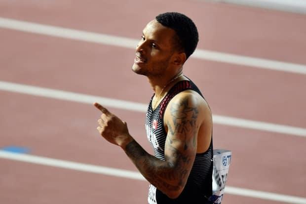 Andre De Grasse, seen here on Sept. 30, 2019, finished third at the Ostrava Golden Spike on Wednesday, trailing only Fred Kerleyand Justin Gatlin of the United States. (Martin Meissner/The Associated Press - image credit)