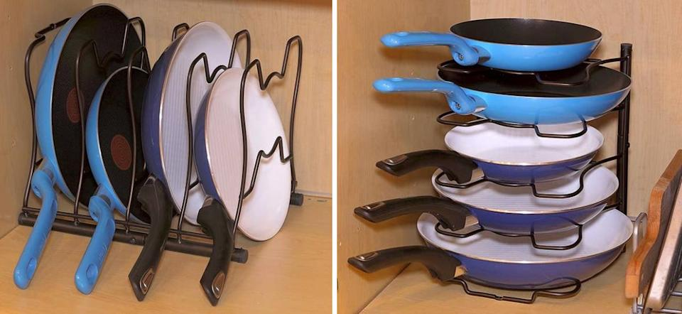 """Reaching for your favorite cookware shouldn't feel like playing a game of Jenga in your cabinet. Plus, you can use it upright or on its side.<br /><br /><strong>Promising review:</strong>""""I was tired of stacking my frying pans on top of each other and was looking for something to both organize my pans and give me easy access to them. Before this organizer, I would have to unstack several pans in order to get to the middle pan that I needed.<strong>Now, I can just reach in and immediately get the frying pan that I need without having to unstack.</strong>The quality of this organizer is pretty good."""" —<a href=""""https://www.amazon.com/dp/B01K07MZPK?tag=huffpost-bfsyndication-20&ascsubtag=5833640%2C42%2C43%2Cd%2C0%2C0%2C0%2C962%3A1%3B901%3A2%3B900%3A2%3B974%3A3%3B975%3A2%3B982%3A2%2C16261665%2C0"""" target=""""_blank"""" rel=""""noopener noreferrer"""">Linda<br /></a><br /><strong>Get it from Amazon for<a href=""""https://www.amazon.com/dp/B01K07MZPK?tag=huffpost-bfsyndication-20&ascsubtag=5833640%2C42%2C43%2Cd%2C0%2C0%2C0%2C962%3A1%3B901%3A2%3B900%3A2%3B974%3A3%3B975%3A2%3B982%3A2%2C16261665%2C0"""" target=""""_blank"""" rel=""""noopener noreferrer"""">$15.97+</a>(available in two colors).</strong>"""